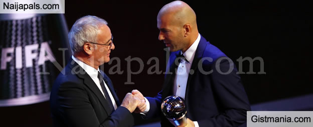 Real Madrid's Coach, Zidane Wins Coach Of The Year Award - Photos